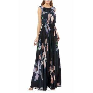 🆕Kay Unger NY Black Floral Print Chiffon Gown 8